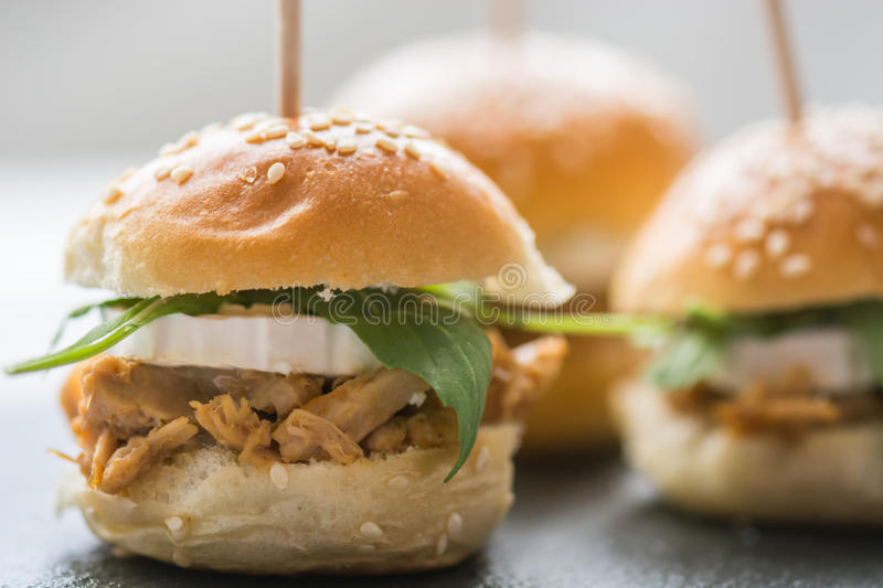 Mini tuna burger and white cheese royalty free stock images
