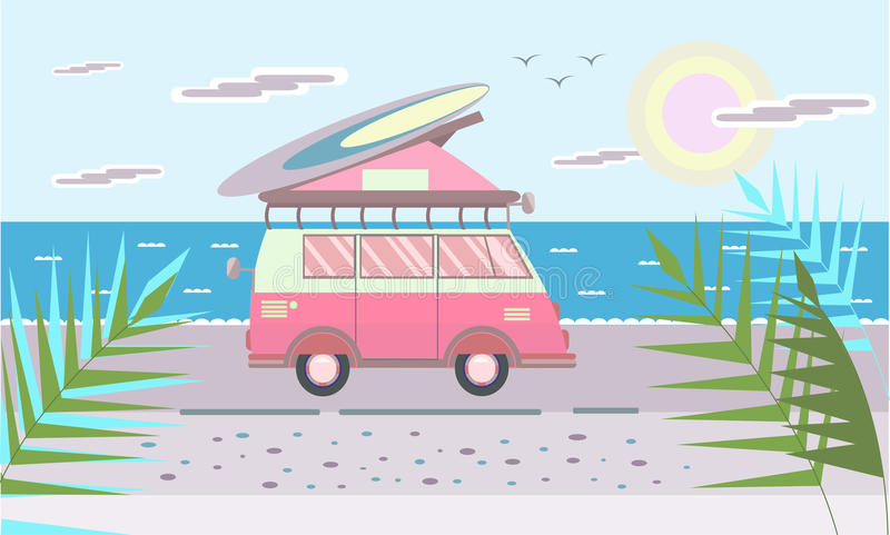 Mini van with surf Board on the roof on the sea beach. Vector illustration in flat style. stock illustration