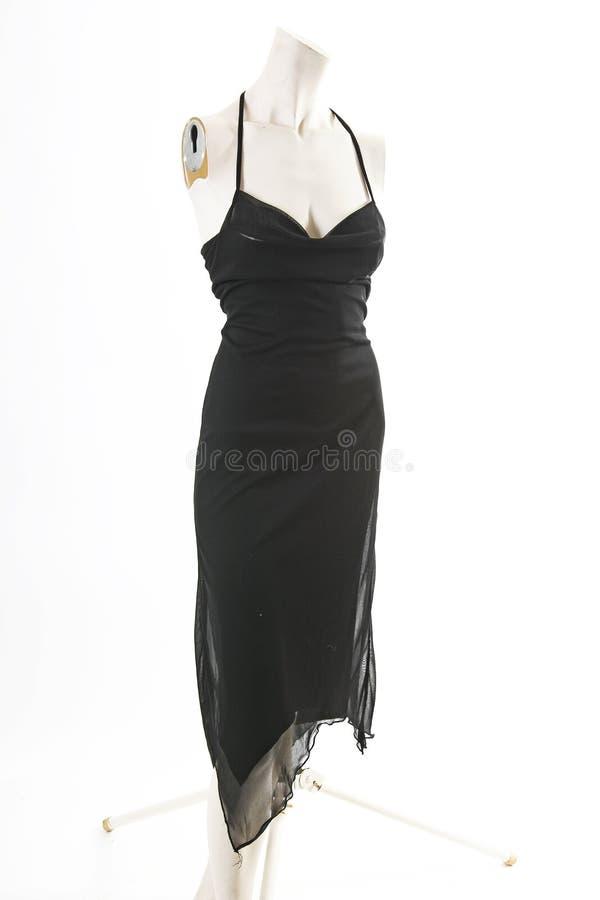 Mini vestido sólido elegante negro en la exhibición completa del body shop del maniquí Estilos de la moda de la mujer, ropa en el imagenes de archivo