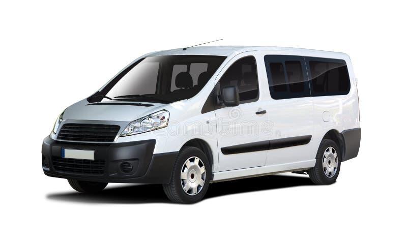 Mini vista laterale bianca di Fiat Scudo del bus isolata su bianco fotografia stock