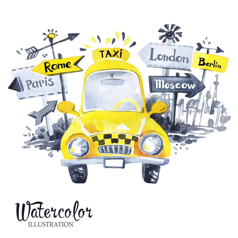 Mini voiture peinte à la main de taxi avec des bannières de ville illustration stock