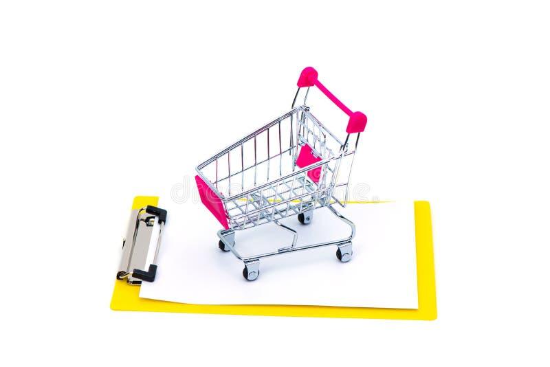 Mini wózek na zakupy lub supermarketa tramwaj na schowku z blan fotografia royalty free
