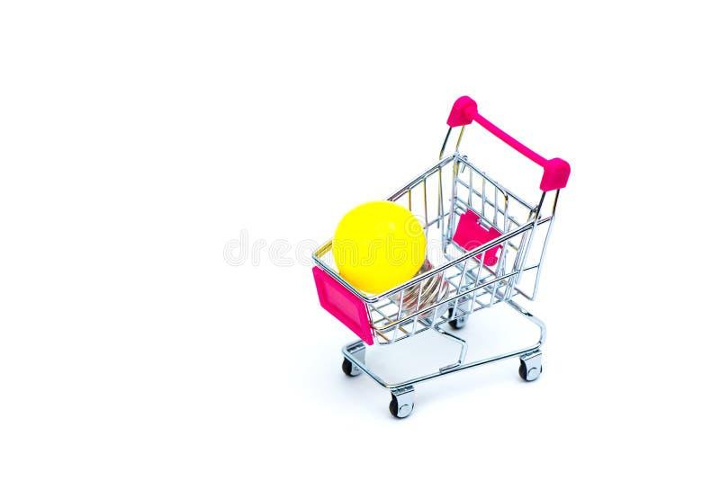 Mini wózek na zakupy lub supermarketa tramwaj z żółtym wolframem l fotografia stock