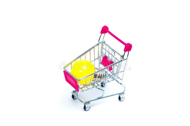 Mini wózek na zakupy lub supermarketa tramwaj z żółtym wolframem l obraz stock