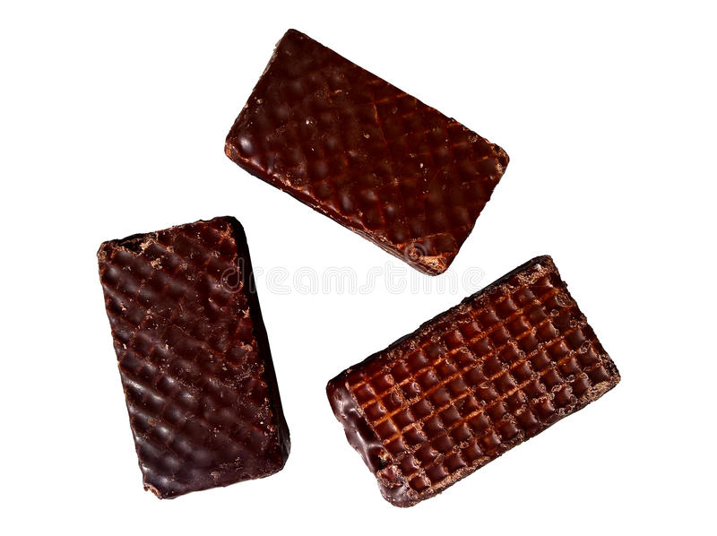 Mini Wafers Dark Chocolate Covered Isolated stock photo