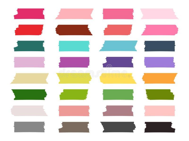 Mini washi taśma obdziera kolorową wektorową kolekcję ilustracji