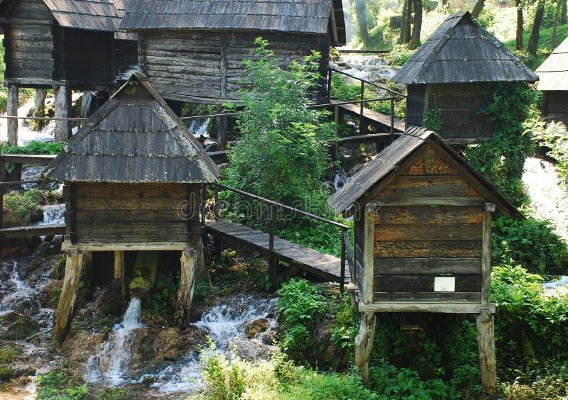 Mini Watermills na Pliva jeziorze zdjęcia royalty free