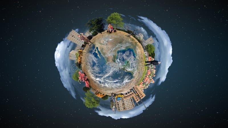 Mini wereldconcept royalty-vrije stock foto