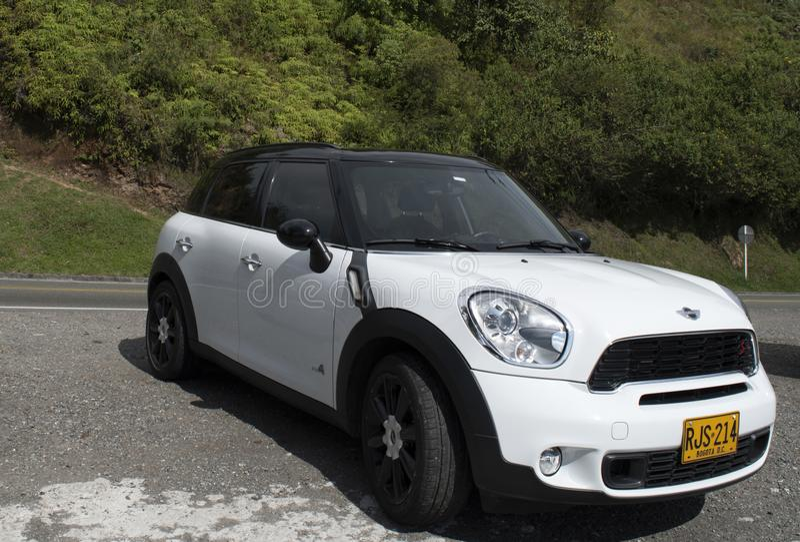 Mini white car parked royalty free stock photos