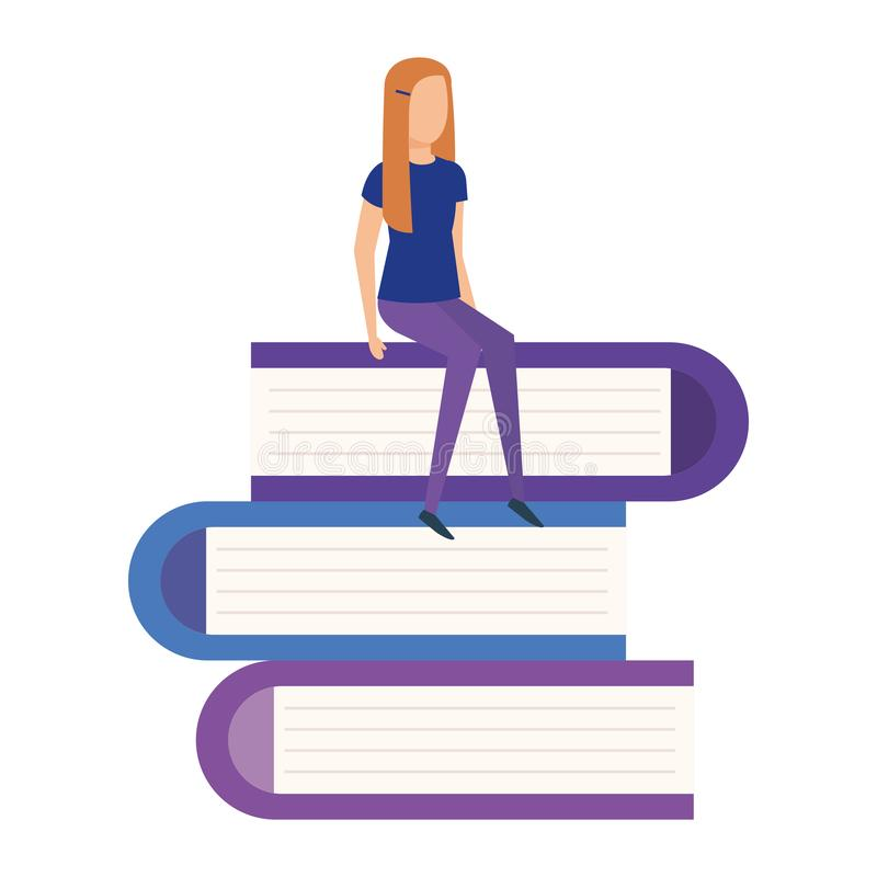 Mini woman in pile text books vector illustration