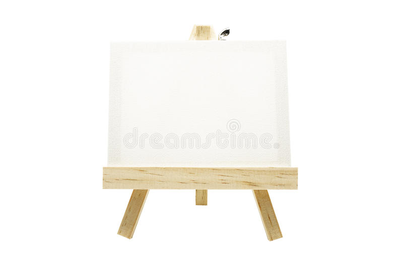 Mini wooden easel with blank canvas frame isolated stock photos