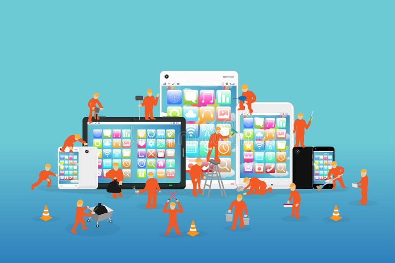 Mini workers working on a smartphone and tablet stock illustration