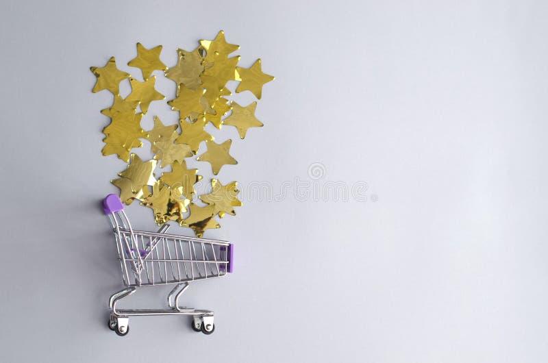 Mini zakupy kosz z gwiazdami obraz royalty free