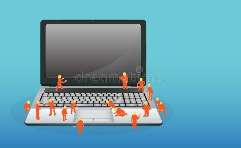 Miniarbeider die aan een laptop computer werken royalty-vrije illustratie