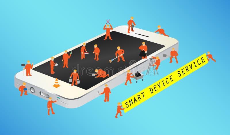 Miniarbeider die aan een smartphone werken vector illustratie