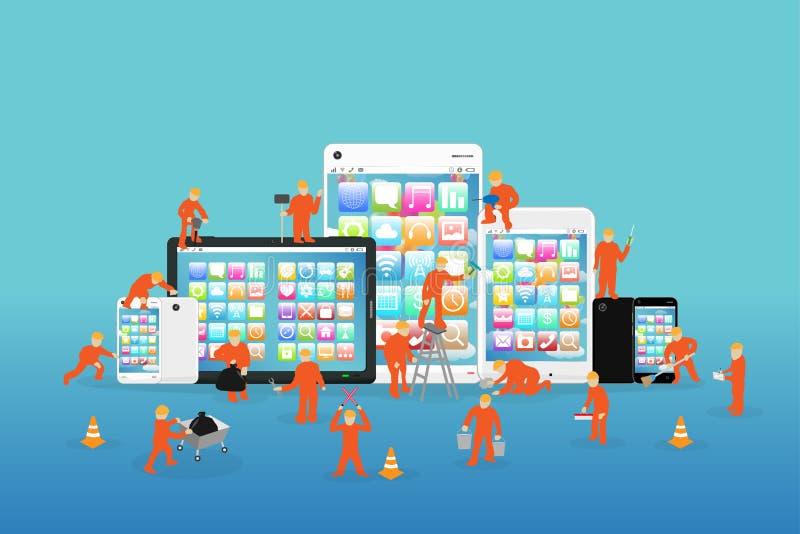 Miniarbeiders die aan een smartphone en een tablet werken stock illustratie