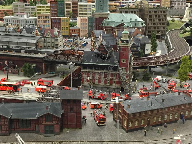 Miniatur Wunderland in Hamburg, Germany. It is a model railway attraction in Hamburg, Germany, and the largest of its kind in the world royalty free stock image
