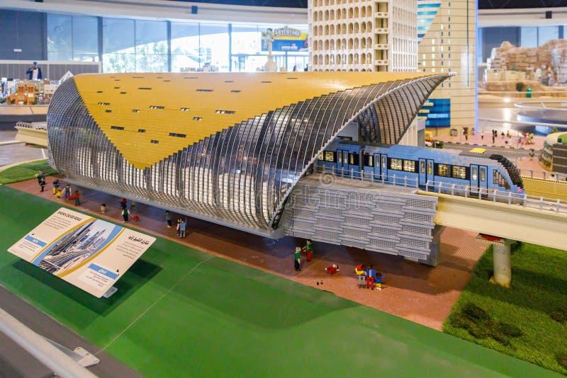 Miniatura de Lego de Sheikh Zayed Road Metro Station en Miniland de Legoland foto de archivo libre de regalías