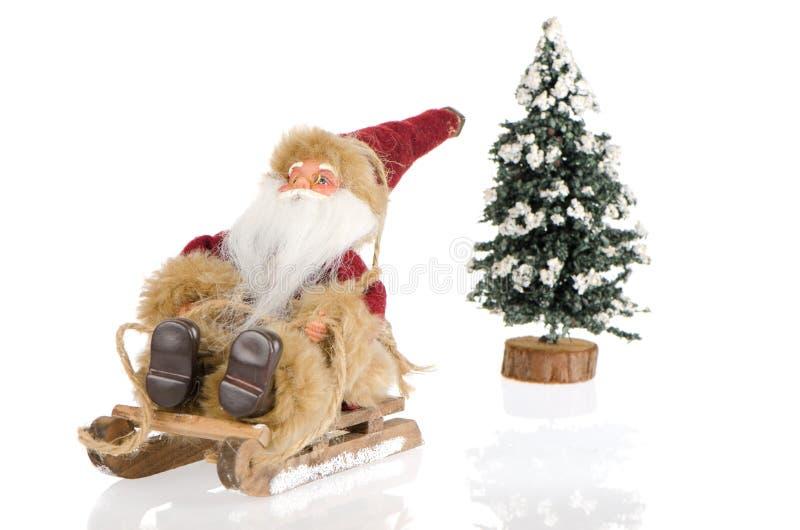 Miniatura de Papai Noel no trenó imagens de stock