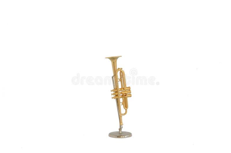 Miniatura della tromba dell'oro isolata fotografia stock libera da diritti
