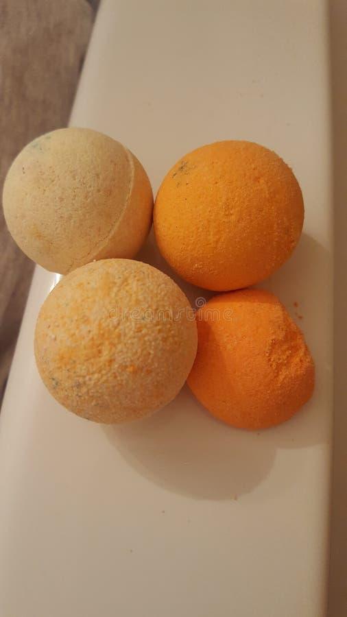 Miniaturas anaranjadas del bathbomb imágenes de archivo libres de regalías