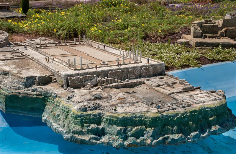 Miniature of ancient ruins of Byzantine house in Caesarea, at Mini Israel - a miniature park located near Latrun. MINI ISRAEL MINIATURE PARK, LATRUN, ISRAEL stock photos
