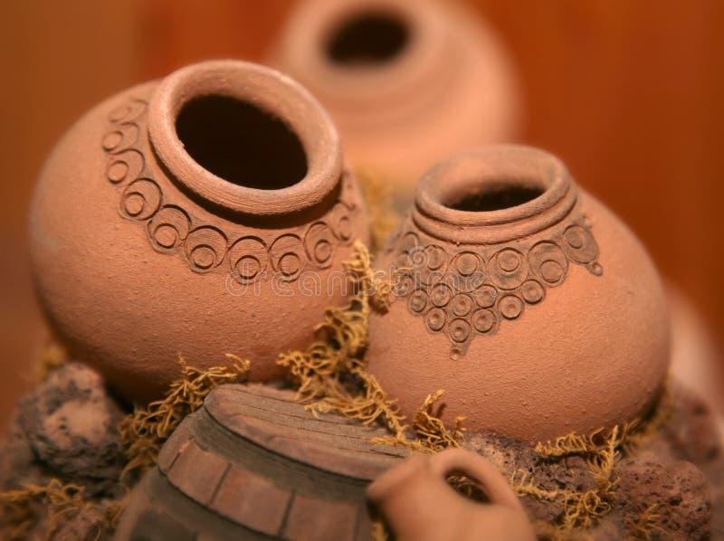 Miniature Armenian Jugs. Clay pottery art ethnic composition stock image
