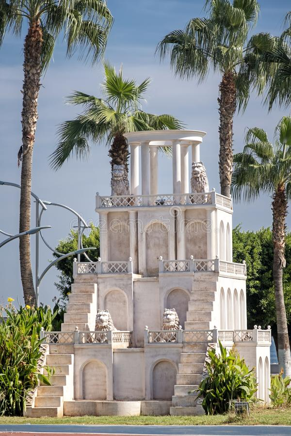 Miniature Babylonian Tower At Coastline Park, Mersin, Turkey. Miniature Babylonian Tower At A Coastline Park, Mersin, Turkey royalty free stock photography