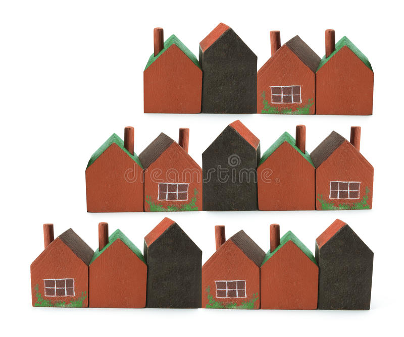 Miniature Buildings. On White Background royalty free stock photo