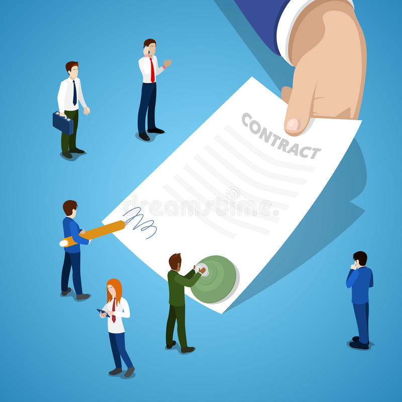 Miniature Business People Signing Contract. Partnership Agreement. Vector flat 3d isometric illustration royalty free illustration