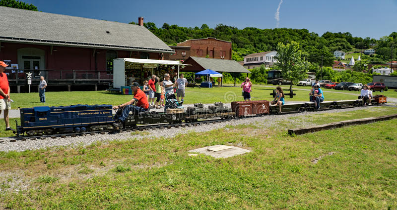 Miniature C&O Train Ride. Clifton Forge, VA – June 3rd: Children enjoying a miniature C&O train ride at the annual Alleghany Highlands Heritage Day and stock images