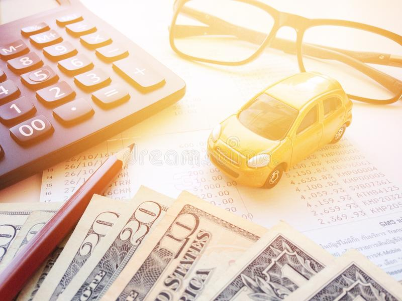 Miniature Car Model Pencil Money Calculator Eyeglasses And