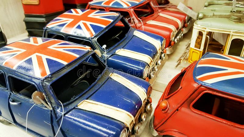 Miniature cars with the english flag stock photography