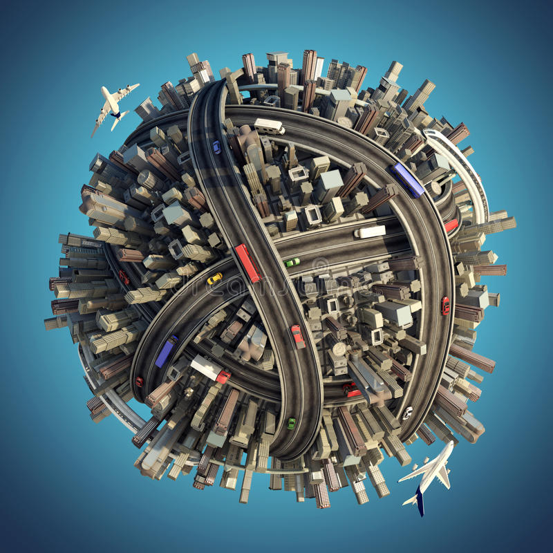 Miniature chaotic urban planet stock images