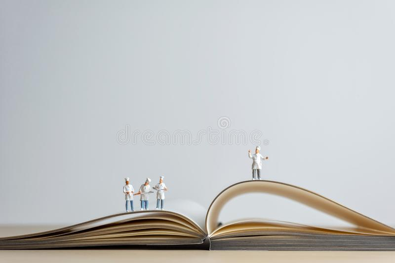 Miniature Chef standing on top of opened recipe book. Cooking co. Ncept stock image
