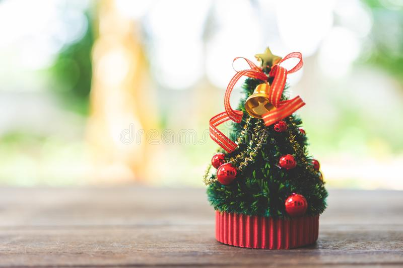 Miniature Christmas tree Celebrate Christmas on December 25 every year. using as background xmas concept with copy spaces for you. Miniature Christmas tree royalty free stock photography