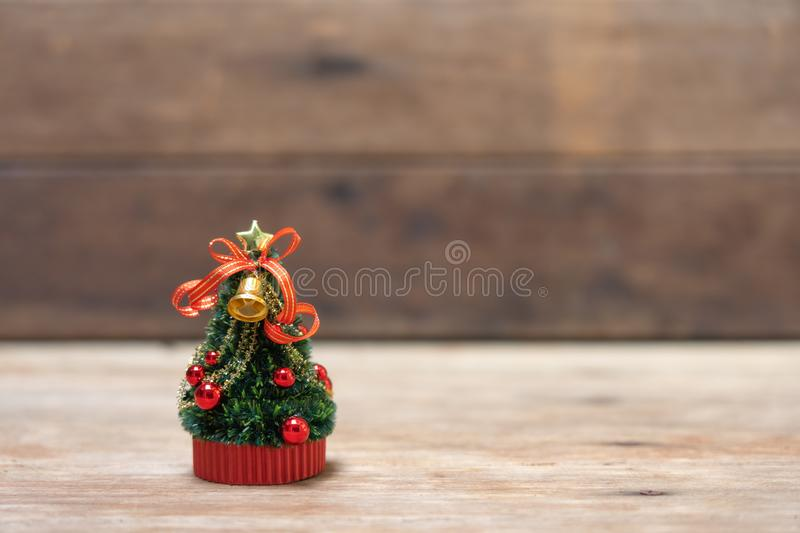 Miniature Christmas tree Celebrate Christmas on December 25 every year. using as background xmas concept with copy spaces for you. Miniature Christmas tree royalty free stock images