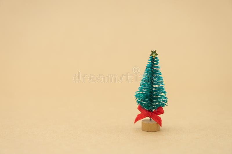 Miniature Christmas tree Celebrate Christmas on December 25 every year. using as background xmas concept with copy spaces for you. Miniature Christmas tree stock photography