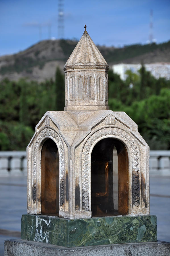 Miniature church. Georgia. Miniature church. yard The Holy Trinity Cathedral of Tbilisi , Sameba. Georgia stock photography