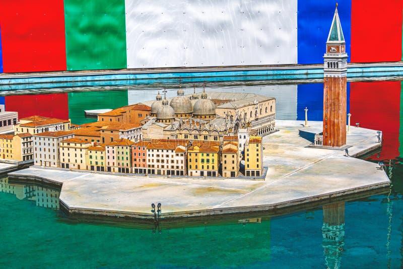 Miniature diorama of italy city buildings and houses of Venice. Bergamo, Italy, 3 Aug 2019 - miniature diorama of italy city buildings and houses of Venice stock photos
