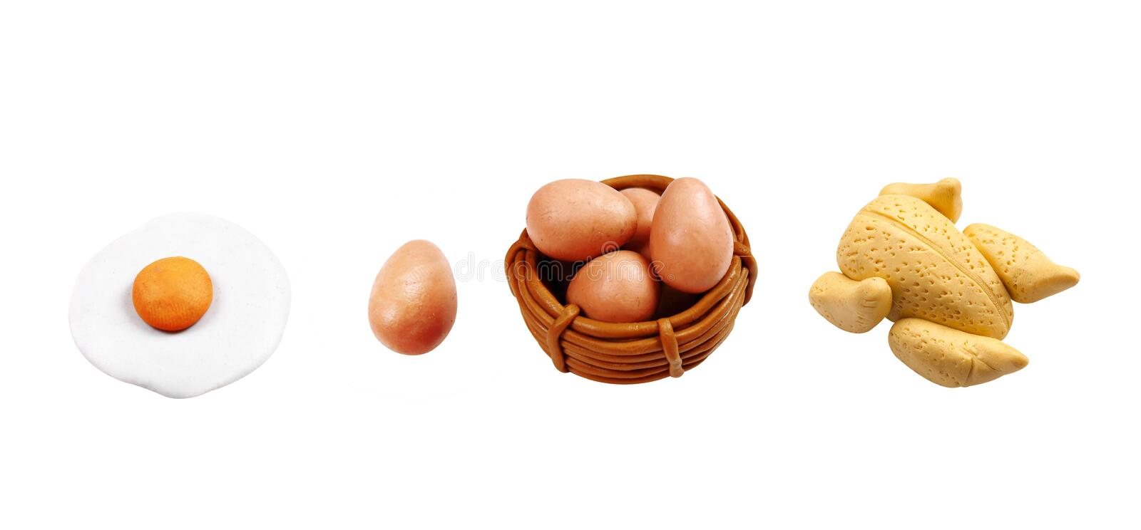 Miniature egg and chicken fried model from japanese clay stock photos