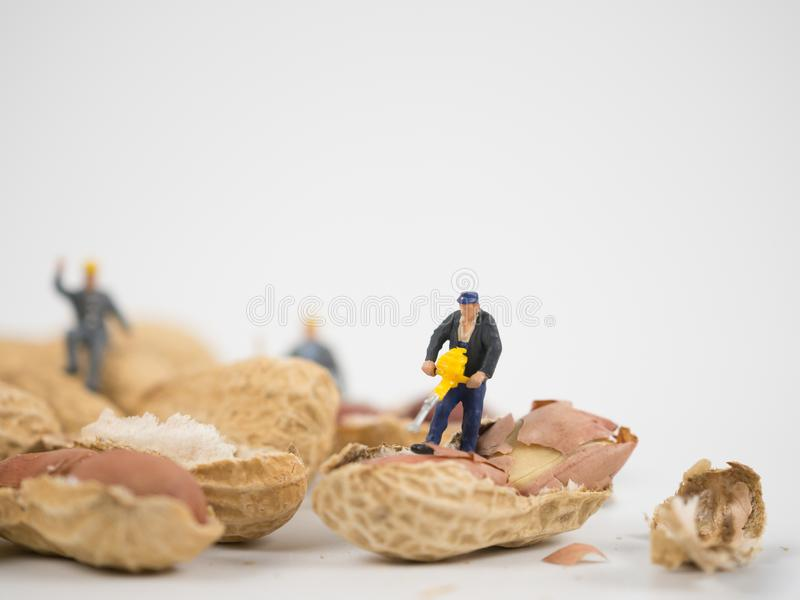 Miniature engineer is working on nuts. royalty free stock photography