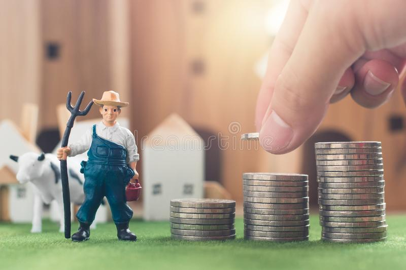 Miniature Farmer and cow figure model, Hand putting money coin stack on Simulation grass. Wooden house in the background, agriculture and financial concept royalty free stock image