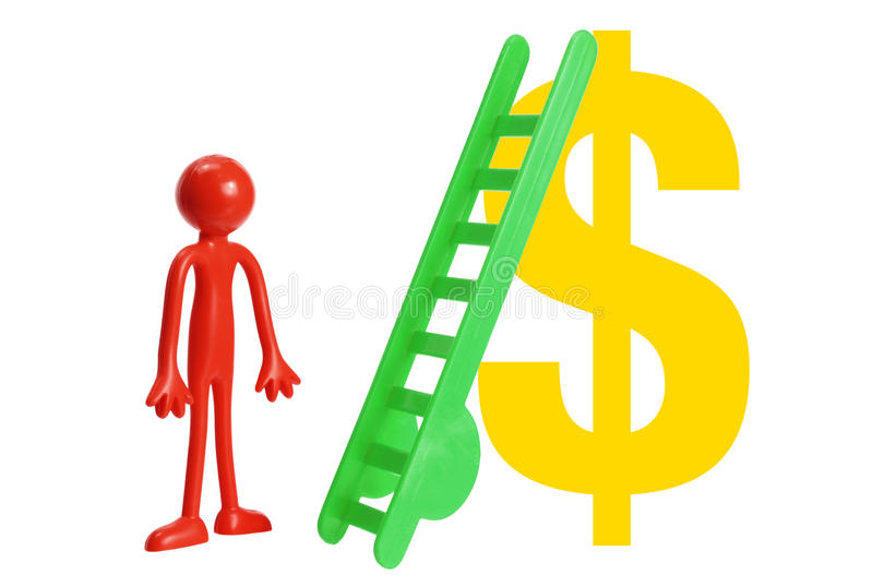 Miniature Figure with Toy Ladder and Dollar Sign stock photo