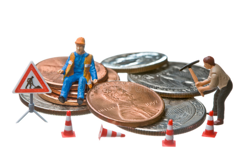 Download Miniature Figures Working On A Heap Of Dollar Coin Stock Photo - Image: 7377586