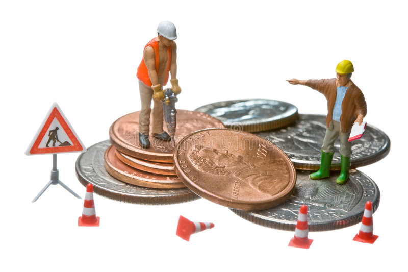 Download Miniature Figures Working On A Heap Of Dollar Coin Stock Photo - Image: 7377596