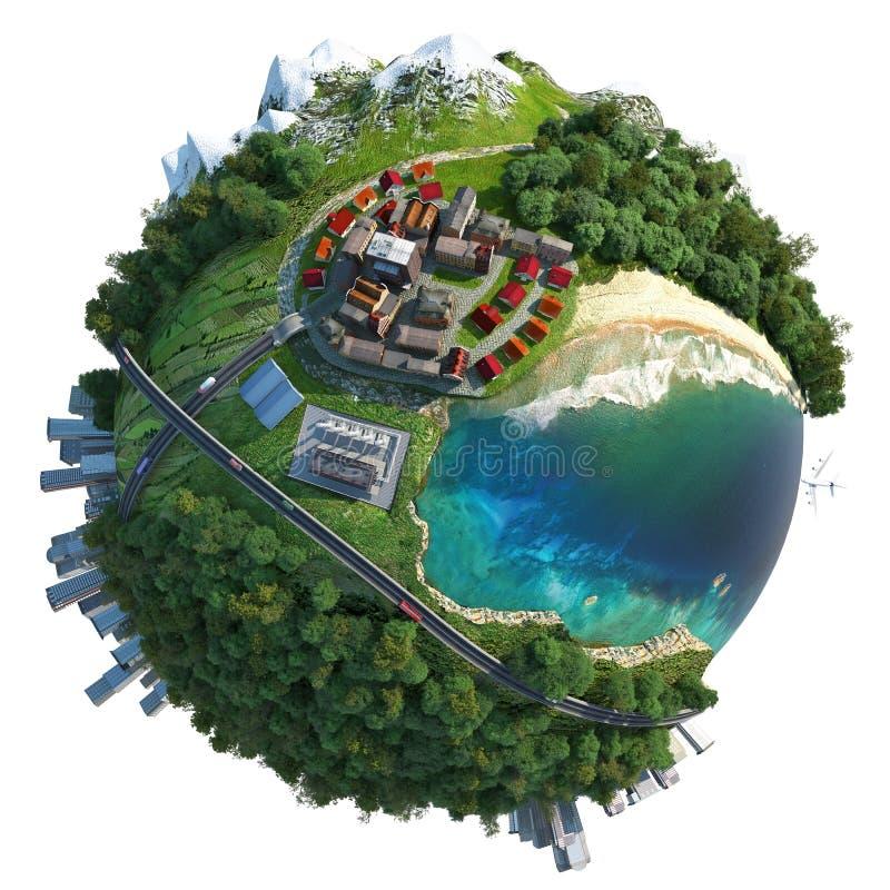 Miniature globe landscape diversity royalty free illustration