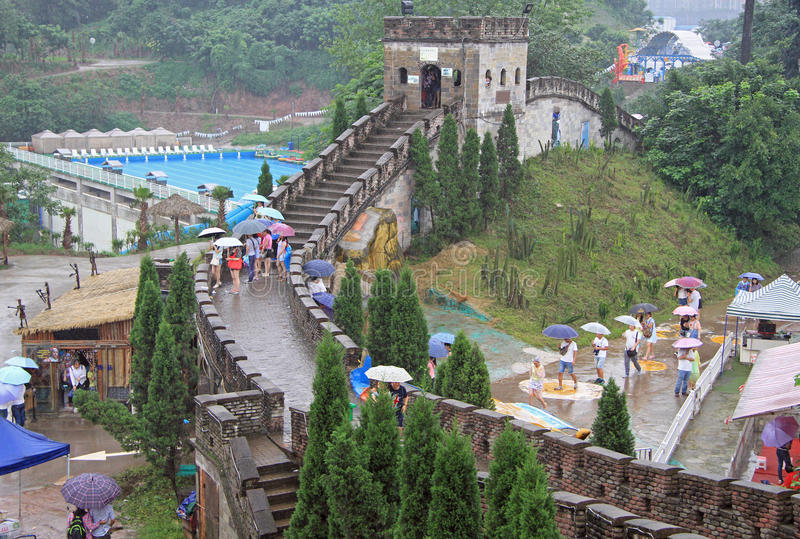 Miniature of the great chinese wall in park, Chongqing. Chongqing, China - June 20, 2015: people wal by miniature of the great chinese wall in park of Chongqing stock image