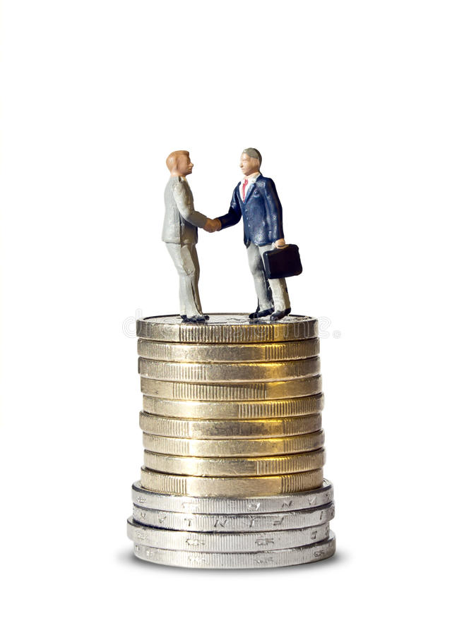 Miniature Handshake Euro Coin Tower Stock Images