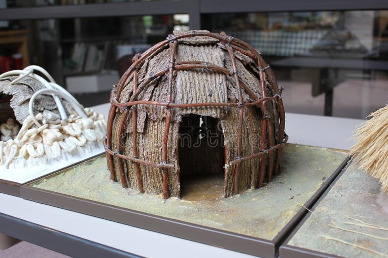 Miniature of Hopewell Indian Homes displayed at the Fort Ancient Museum stock photos